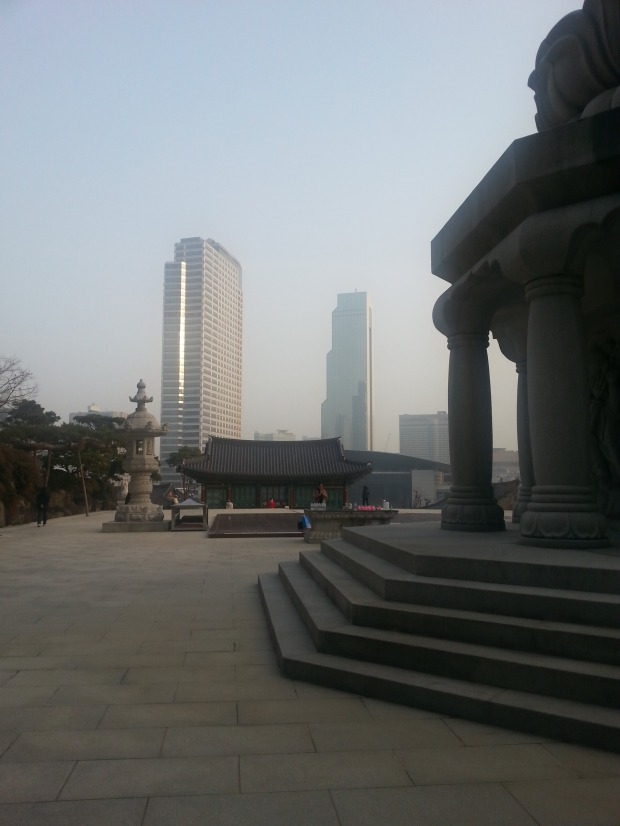 The skyline of Gangnam that Young must have seen as he stepped out of the time portal.