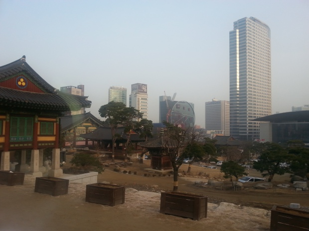 Another view of the Gangnam skyline from inside the temple.