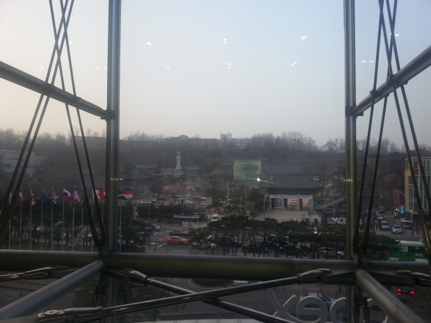 View from inside the second floor of COEX looking at Bongeunsa across the street.