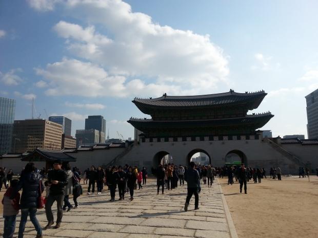Inside Gyeongbokgung, look out toward Gwanghwamun.