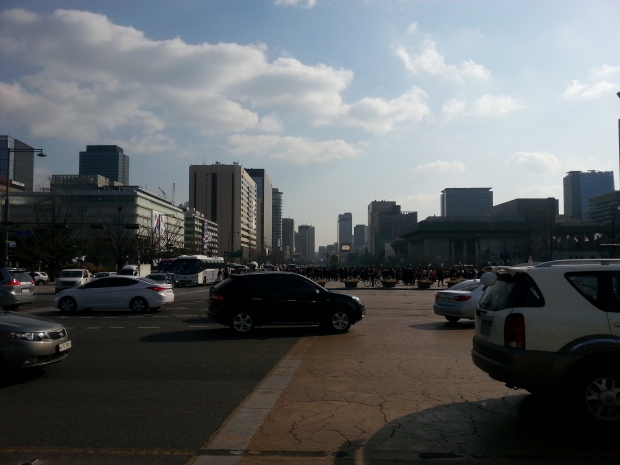 Looking out toward Gwanghwamun square from Gyeongbokgung, right in front of the entrance.