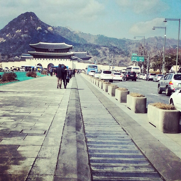 Memorial Walkway at Gwanghwamun square, leading up to Gyeongbokgung.
